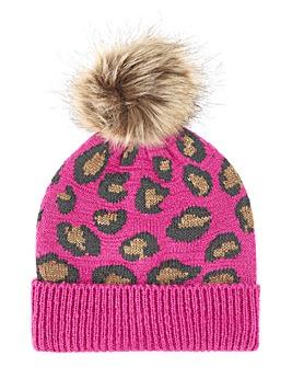 Pink Leopard Print Pom Pom Hat