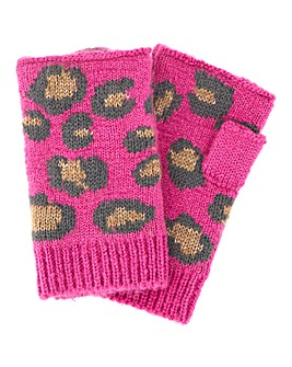 Pink Leopard Print Knitted Mittens