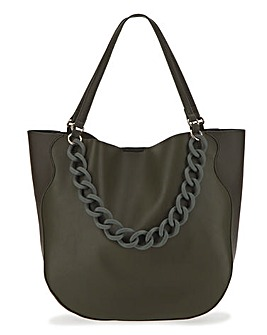Khaki Chain Resin Tote Bag