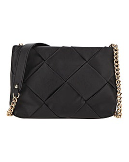 Leather Woven Padded Crossbody Bag