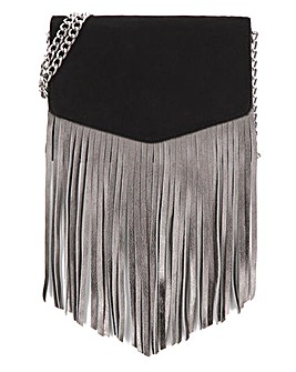 Metallic Tassel & Black Suede Crossbody
