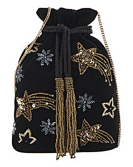 Stars Velvet Drawstring Evening Bag