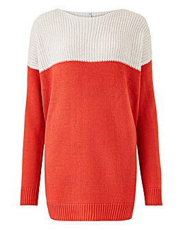 Ivory/Coral Ribbed Jumper
