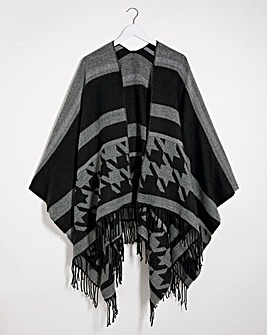 Patterned Black And Grey Poncho