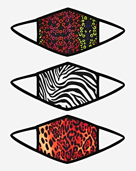 3 Pack Animal Print Face Coverings