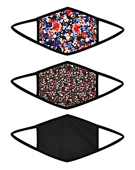 3 Pack Floral Printed Face Coverings