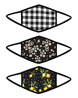 3 Pack Floral & Gingham Print Face Coverings