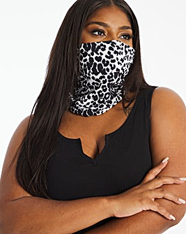Mono Leopard Print Snood Face Covering
