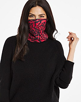 Red Snake Print Snood Face Covering