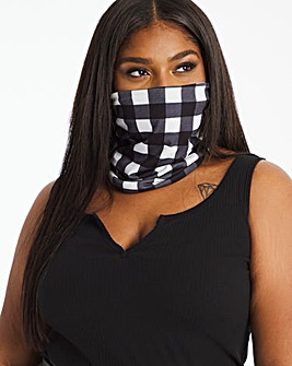 Mono Gingham Print Snood Face Covering