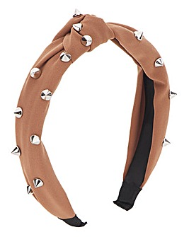 Tan Knotted Studded Headband