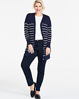 Navy/Ivory Stripe Boyfriend Cardigan