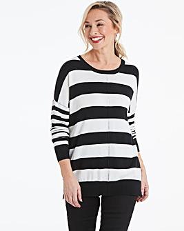 Black/Ivory Stripe Boxy Jumper