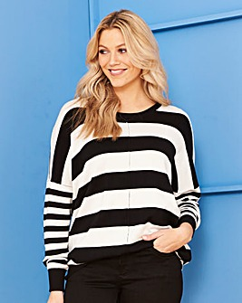 Black/Ivory Stripe Boxy Jumper
