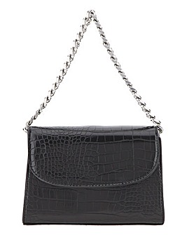 Black Croc Chunky Chain Grab Bag