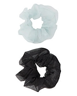 Black & Mint Chiffon Scrunchie Pack