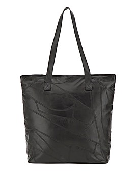 Black Leather Patchwork Shopper