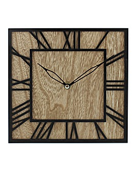 Home Living Square Wooden Wall Clock