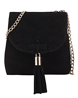 Pouch Suede Crossbody With Tassel Detail