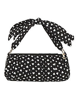 Heart Print Tophand Clutch Bag