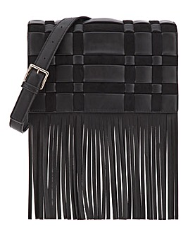 Woven Crossbody With Fringe Detail