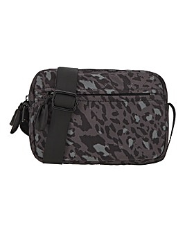 Recycled Nylon Leopard Print Camera Bag