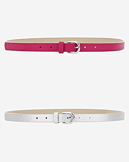 2 Pack Silver & Pink Skinny Belt