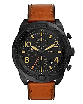 Fossil Leather Bronson Chronograph Watch
