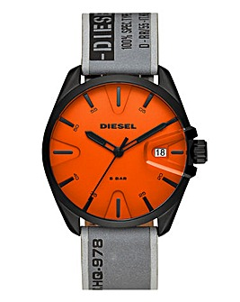 Diesel Leather Strap Orange Face Watch