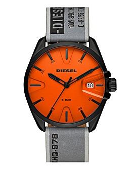 Diesel Leather Strap Orange Face Watch