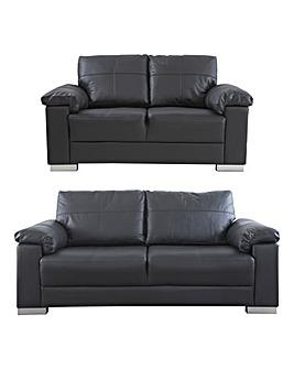 Ravel Leather 3 plus 2 seater Sofa