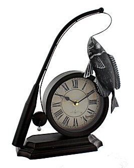 Hometime Mantel Clock Fishing Rod & Fish