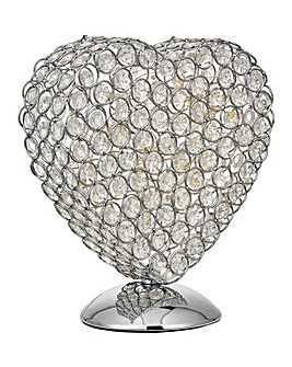 Atrium Silver Heart Table Lamp