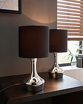 Set of 2 Gotham Touch Bedside Table Lamp