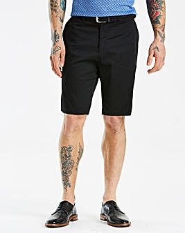 Jacamo Black Label Black Belted Shorts