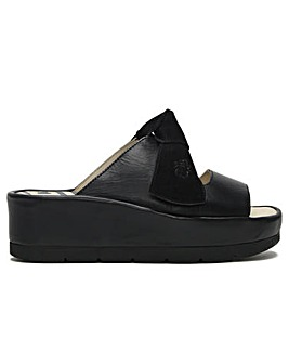 Fly London Bade Leather Flatform Mules