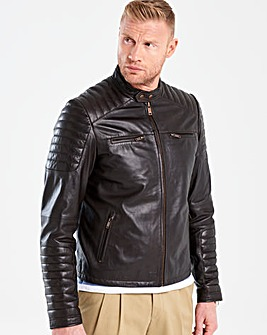 Flintoff By Jacamo Leather Jacket R
