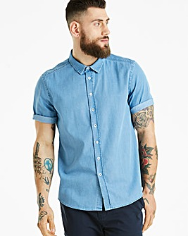 Jacamo Denim Short Sleeve Shirt Long