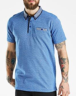 Jacamo Black Label Blue Patterned Polo L