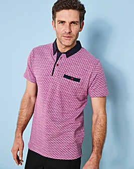 Jacamo Black Label Pink Patterned Polo R