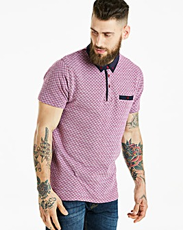 Jacamo Black Label Pink Patterned Polo Regular
