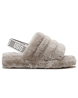 UGG Fluff Yeah Logo Sheepskin Sliders