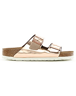 Birkenstock Arizona Metallic Leather Two Bar Mules