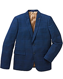 Jacamo Blue Slim Stretch Checked Jacket Long