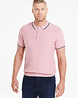 Flintoff By Jacamo Pink Knit Polo R