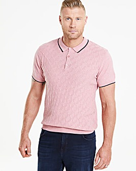 Flintoff By Jacamo Pink Knit Polo L