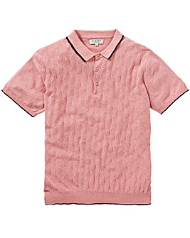 Jacamo Pink Knit Polo Regular