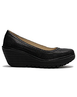 Fly London Yoni Reptile Wedge Court Shoe