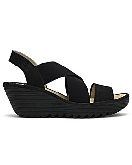 Fly London Yaji Leather Elasticated Cross Strap Wedge Sandals