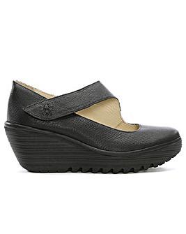 Fly London Yasi Leather Mary Jane Wedge Shoes